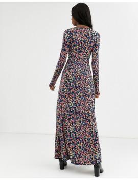 Asos Design Tall Long Sleeve Button Through Maxi Tea Dress In Print by Asos Design
