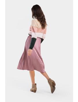 Evonne Pleated Satin Skirt by Francesca's