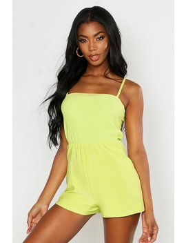 Shirred Detail Tie Strap Playsuit by Boohoo