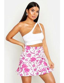 Petite Floral Print Mini Ruffle Skirt by Boohoo