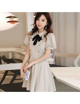 Dabuwawa   Short Sleeve Ribbon A Line Mini Dress by Dabuwawa