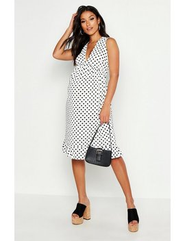 Maternity Plunge Polka Dot Rib Midi Dress by Boohoo