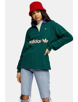 Dark Green 1/2 Zip Logo Fleece By Adidas by Topshop