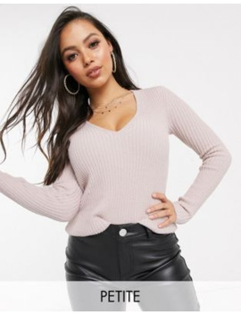 Boohoo Petite Ribbed V Neck Jumper In Pale Pink by Boohoo