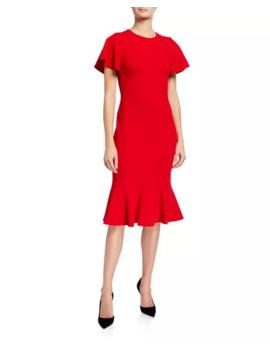 Calvin Klein Flutter Short Sleeve Dress With Flutter Bottom by Calvin Klein
