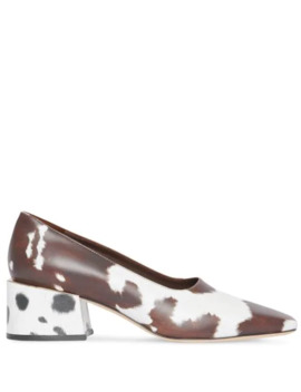 Animal Print Leather Block Heel Pumps by Burberry