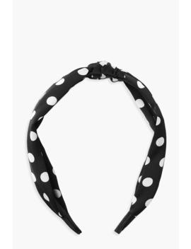 Monochrome Polka Dot Twist Knot Headband by Boohoo
