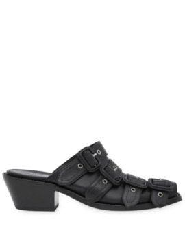 Buckled Leather Peep Toe Mules by Burberry