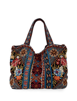 Naomi Multi Embroidered Velvet Tote Bag by Johnny Was