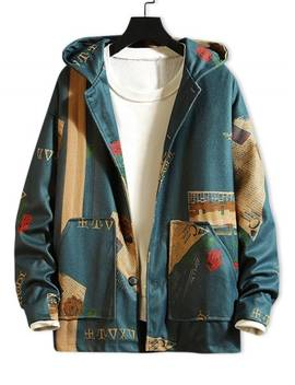 Newspaper Flower Letter Graphic Print Hooded Jacket   Blue M by Zaful