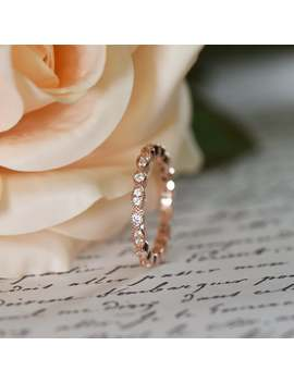 Art Deco Full Eternity Ring, Marquise Wedding Band, Delicate Engagement Ring, Man Made Diamond Simulant, Sterling Silver, Rose Gold Plated by Etsy
