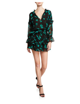 Lolita Tiered Floral Ruffle Mini Dress by Misa Los Angeles