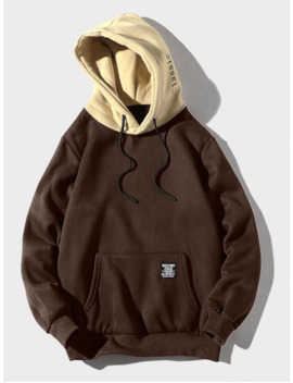 Color Blocking Letter Patch Detail Pouch Pocket Fleece Hoodie   Coffee Xs by Zaful