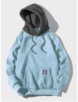 Color Blocking Letter Patch Detail Pouch Pocket Fleece Hoodie   Light Sky Blue Xs by Zaful