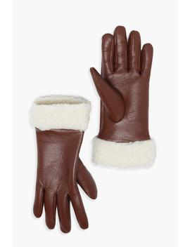 Pu Glove With Teddy Borg Cuff by Boohoo