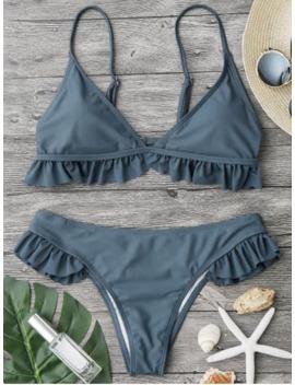 Ruffle Padded Plunge Bikini Set   Stone Blue M by Zaful