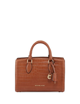 Zoe Medium Croco Leather Satchel Bag by Michael Michael Kors