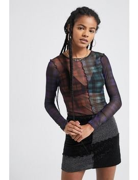 Uo Plaid Lettuce Edge Mesh Top by Urban Outfitters