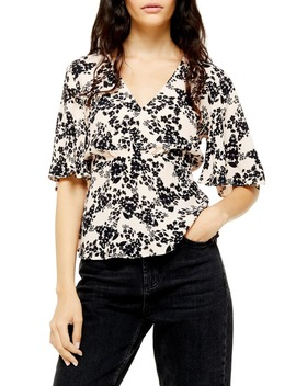 Austin Black Meadow Floral Blouse by Topshop