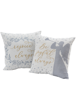 "Mainstays Holiday Joyful Angel Decorative Throw Pillow Set, 17""X17\"", 2 Pack by Mainstays"