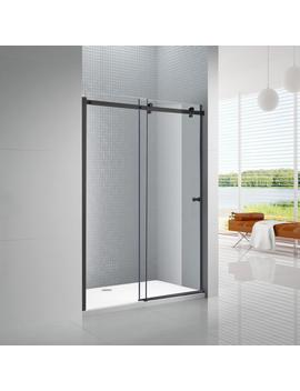 Primo 60 In. X 72 In. Frameless Sliding Shower Door In Black With 6 Mm Clear Glass by Amluxx