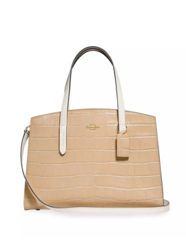 Charlie Colorblock Croc Embossed Leather Carryall Tote Bag by Coach 1941