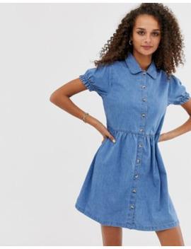 Asos Design –Blå Kort Skjortklänning I Denim Med Krage by Asos Design