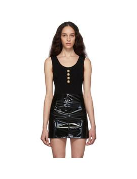 Black Knit Buttoned Bodysuit by Balmain