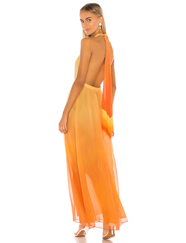Ombre Halter Maxi Dress In Amber Ombre by Jonathan Simkhai