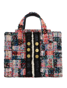 Diana Pixel Tweed Book Tote Bag by Kooreloo