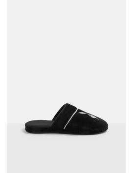 Playboy X Missguided Black Embroidered Slippers by Missguided