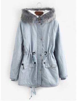 Popular Faux Fur Lining Hooded Longline Parka Coat   Light Blue Xl by Zaful