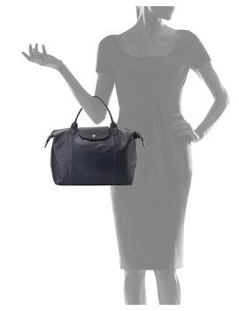 Le Pliage Cuir Handbag With Strap, Navy by Longchamp