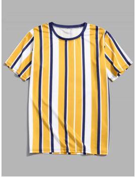 Short Sleeves Vertical Stripes Print Casual T Shirt   Golden Brown M by Zaful