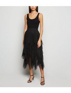 Cameo Rose Black Tiered Mesh Midi Skirt by New Look