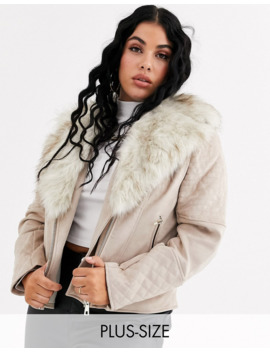 River Island Plus Suedette Biker Jacket With Faux Fur Collar In Beige by River Island