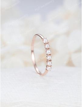 Akoya Saltwater Pearl Wedding Band Women Rose Gold Stacking Ring Solid 14 K Gold Dainty Bridal Set Delicate Promise Birthstone Anniversary by Etsy