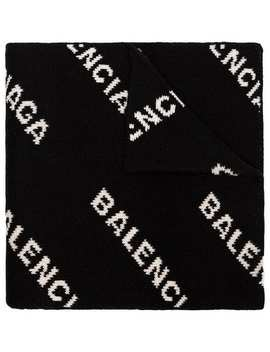 Black And White Logo Intarsia Wool Blend Scarf by Balenciaga
