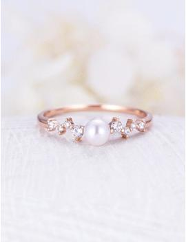 Akoya Pearl Engagement Ring Rose Gold Saltwater Pearl Diamond Mini Unique Cluster Wedding Women Twig Bridal Set Delicate Multi Gift Promise by Etsy