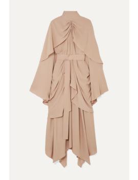 Belted Gathered Layered Cady Midi Dress by Lado Bokuchava