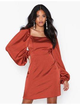 Puffy Sleeve Satin Slit Dress by Glamorous