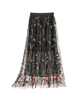 "Helens Heart Women's Elegant Floral Garden Layered Skirt   36"" Long   Black by Helens Heart"