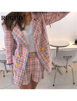 Rugod Korean Chic Plaid 2 Picec Shorts Set Women Elegant Double Breasted Blazer Jackets & Wide Leg Mini Shorts Office Ladies by Ali Express.Com