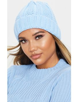 Baby Blue Chunky Knit Beanie by Prettylittlething