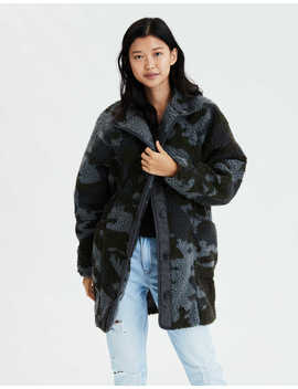 Ae Fuzzy Faux Sherpa Camo Jacket by American Eagle Outfitters