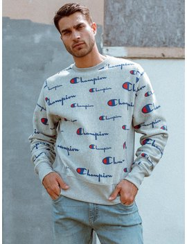 Mens Rev Weave All Over Print Crew   Ox Grey by Championchampion