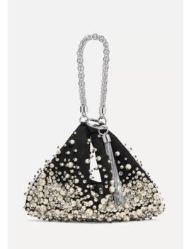 Callie Faux Pearl And Crystal Embellished Suede Clutch by Jimmy Choo