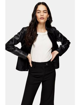 Black Leather Fitted Jacket by Topshop