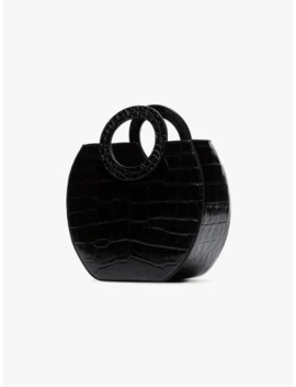 Black Frida Croc Effect Leather Tote Bag by Staud