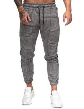 Popular Houndstooth Print Drawstring Jogger Pants   Multi B M by Zaful